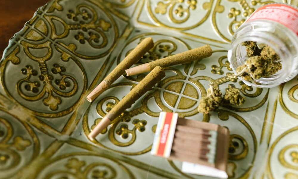 Cannabis products sitting on table